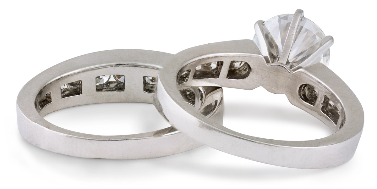 Moissanite Wedding Set with Diamond Accents - Back