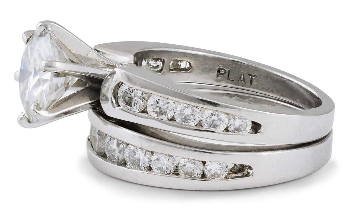 Moissanite Wedding Set with Diamond Accents - Side 2