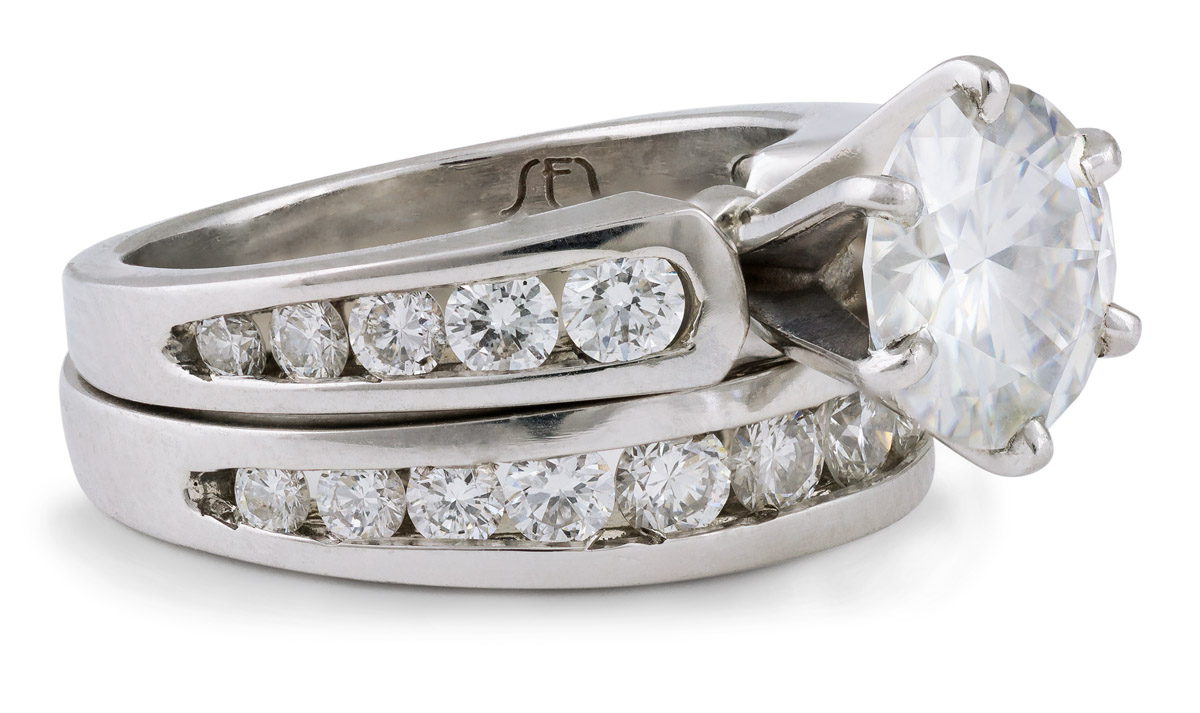 Moissanite Wedding Set with Diamond Accents - Side 1