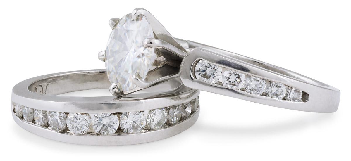 Moissanite Wedding Set with Diamond Accents - Tilt