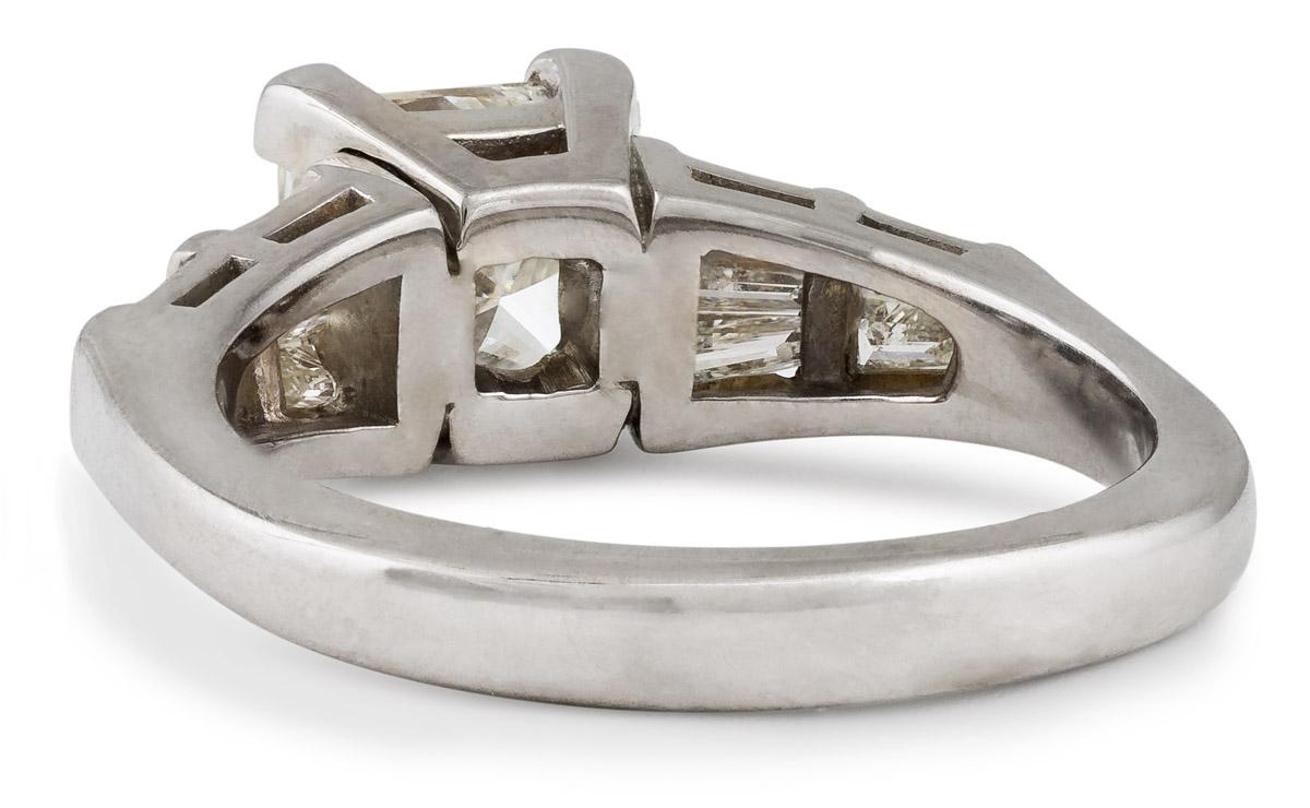 Princess Diamond Engagement with Baguette Diamonds - Back