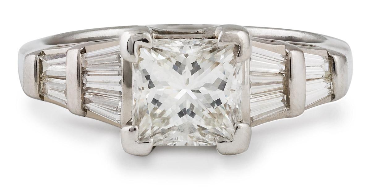 Princess Diamond Engagement with Baguette Diamonds