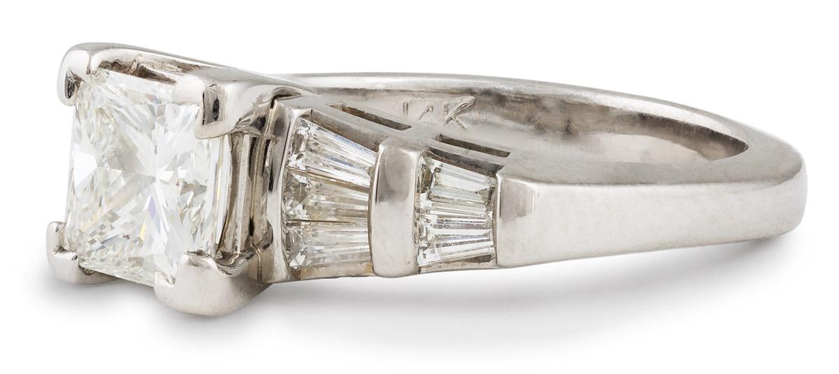 Princess Diamond Engagement with Baguette Diamonds - Side