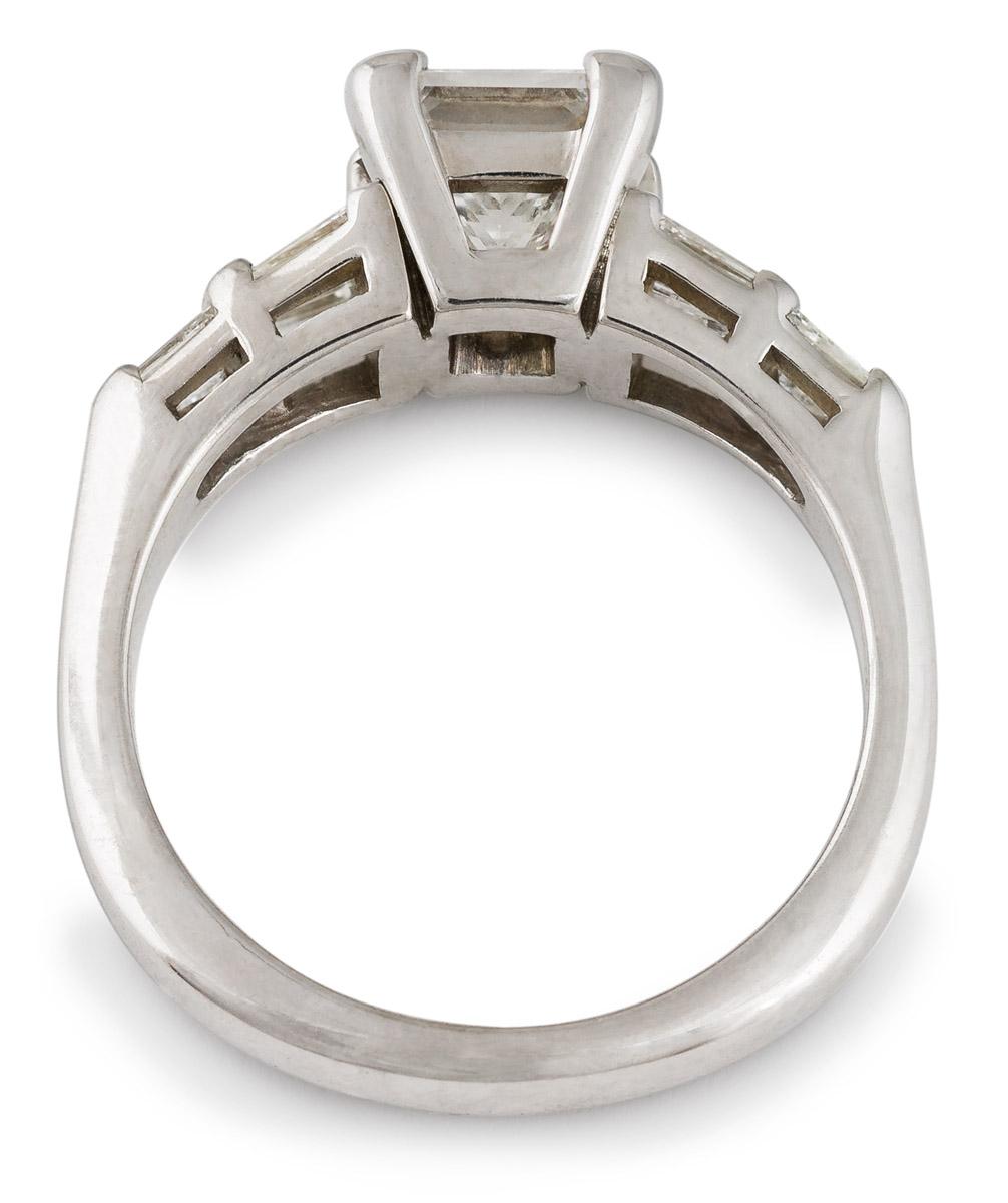 Princess Diamond Engagement with Baguette Diamonds - Top