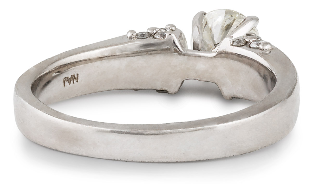 Cathedral Style Diamond Engagement Ring with Clustered Accents - Back