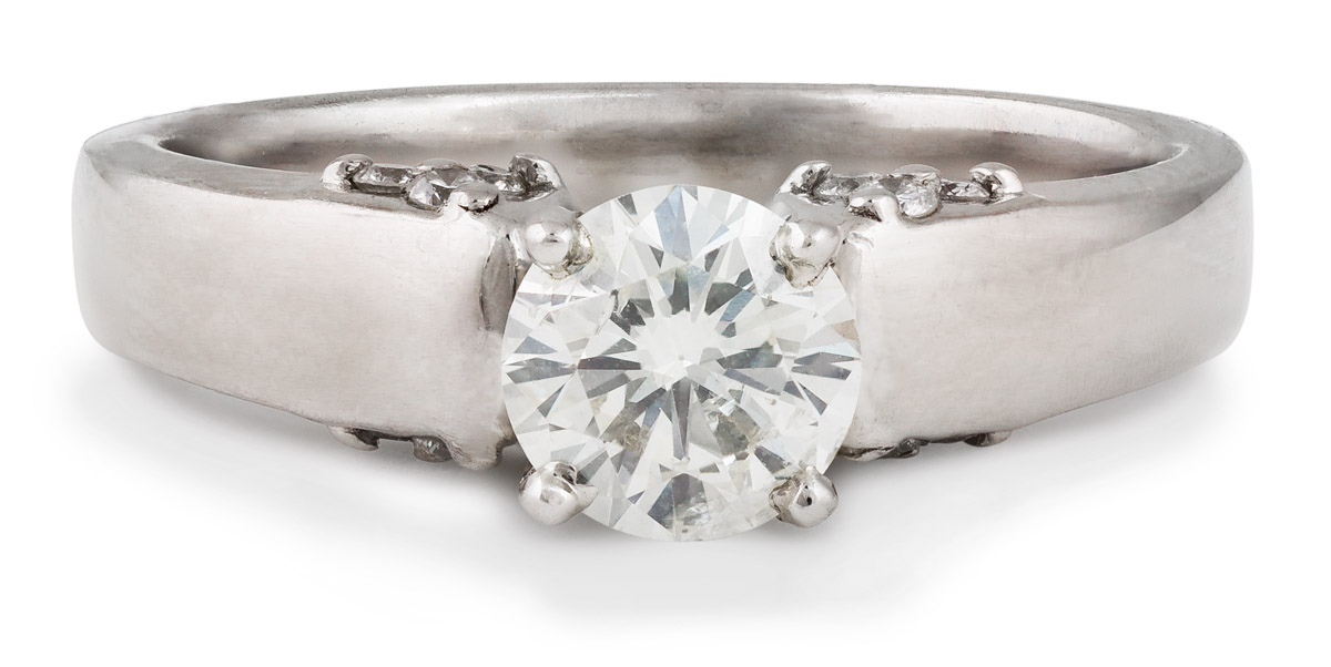 Cathedral Style Diamond Engagement Ring with Clustered Accents