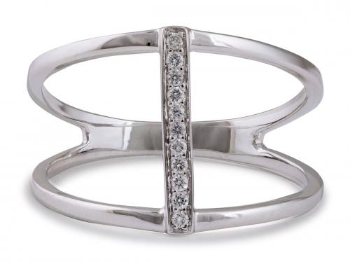 Minimalist Split Shank Ring with Bar of Diamond Accents