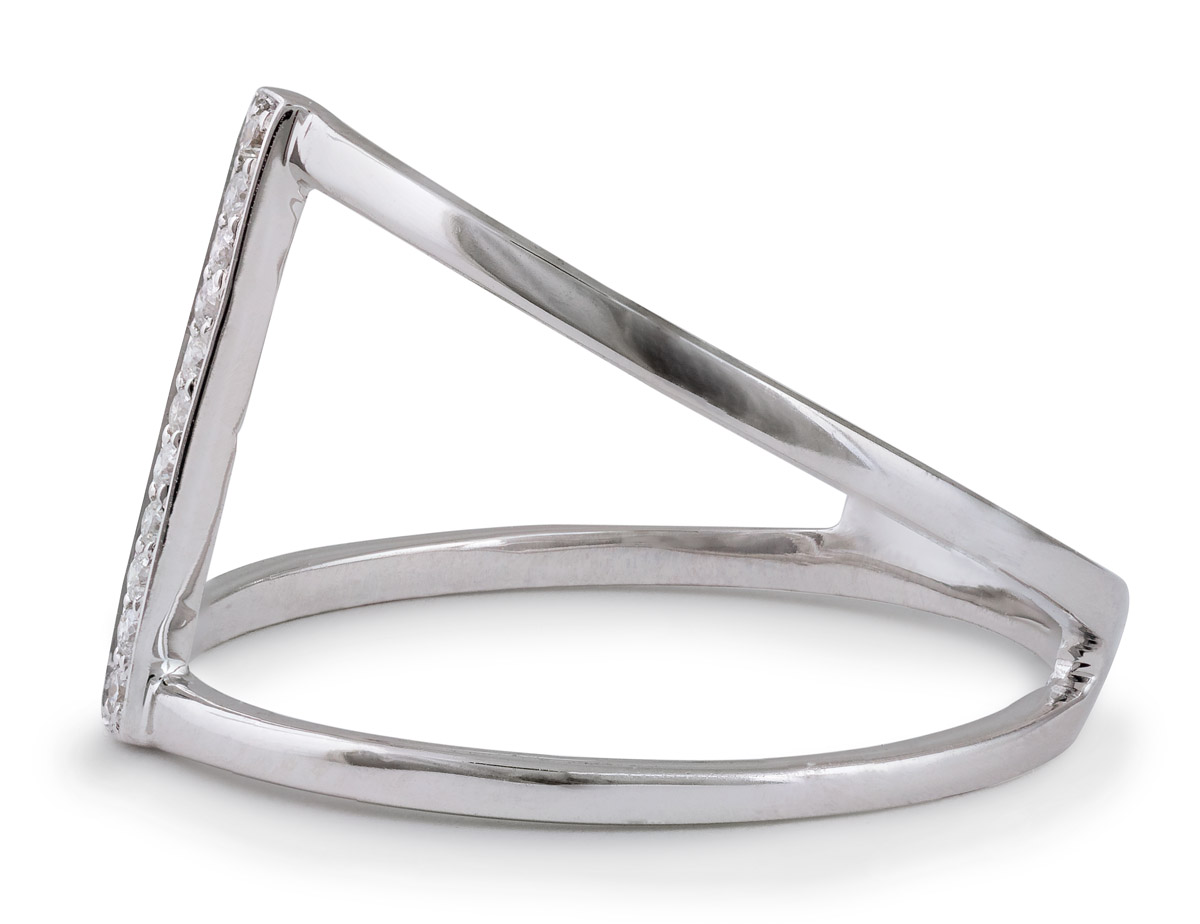 Minimalist Split Shank Ring with Bar of Diamond Accents - Side