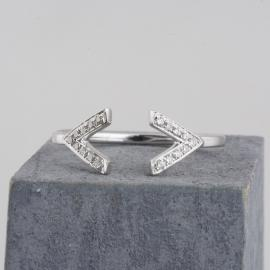 Minimalist Double V Open Shank Ring with Diamonds