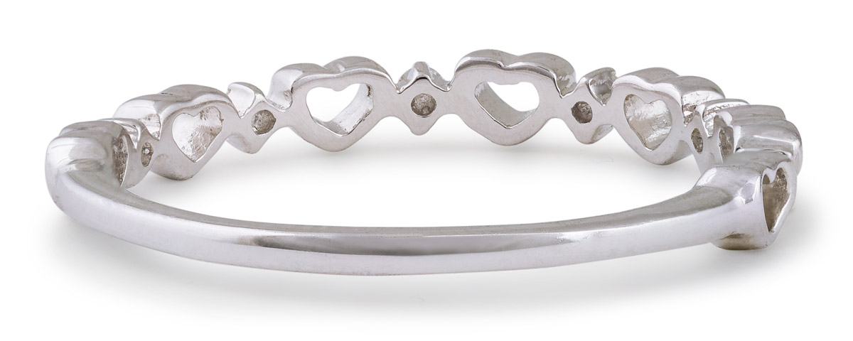 Minimalist Heart Band with Diamond Accents - Back
