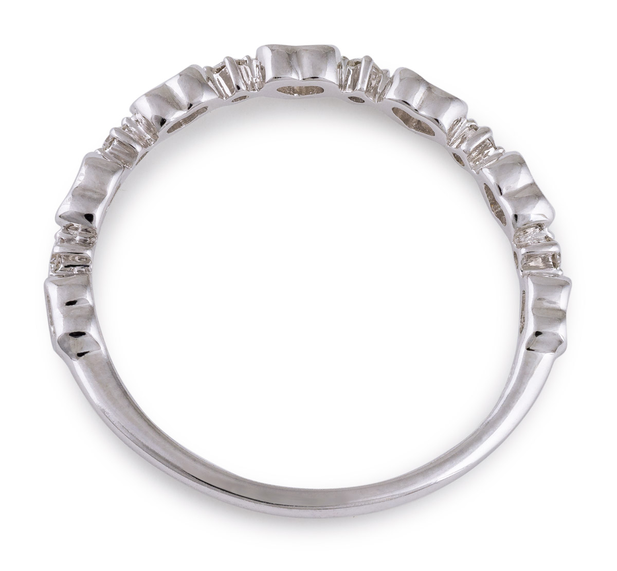 Minimalist Heart Band with Diamond Accents - Top