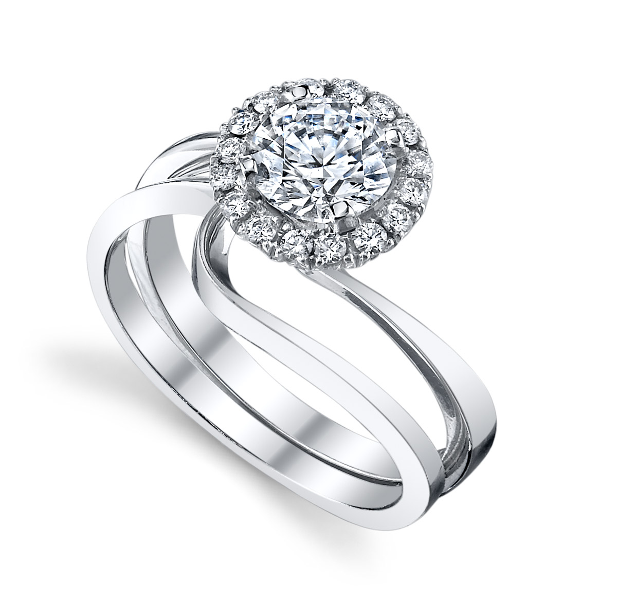 Mark Schneider : Angelic Contemporary Engagement Ring with Band - tilt