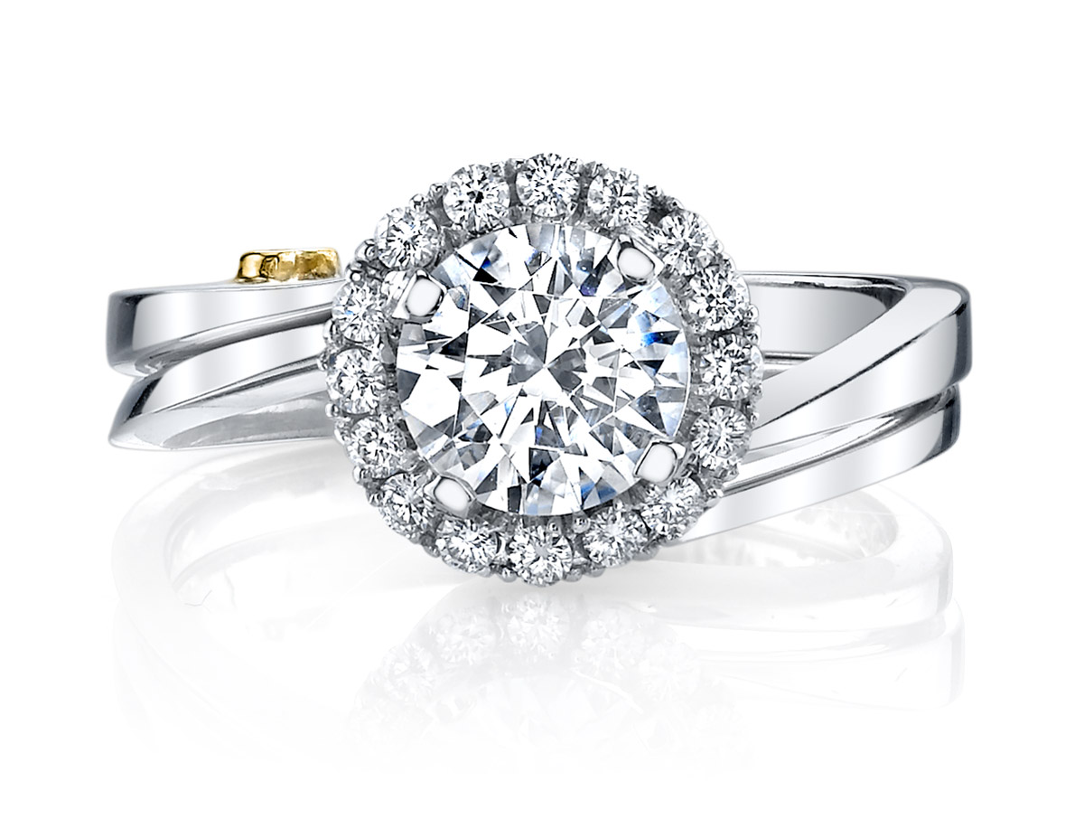 Mark Schneider : Angelic Contemporary Engagement Ring with Band - front