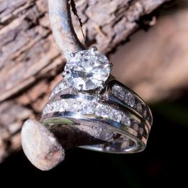 Moissanite Wedding Set with Diamond Accents - 1