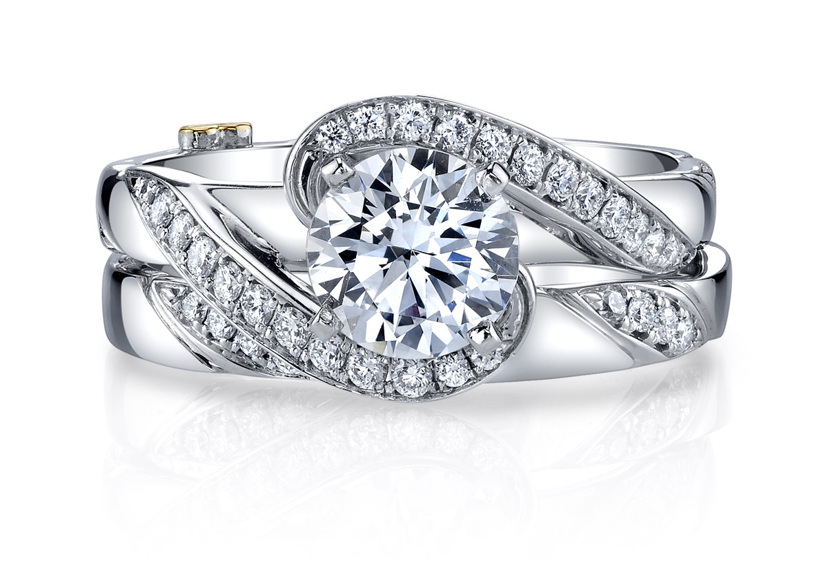 Mark Schneider : Bemused Engagement Ring - Pictured with Matching Band