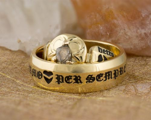 Rough diamond wedding set with black lettering - together