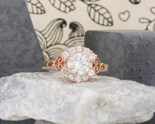 Diamond Filigree Engagement Ring with Leaf Accents