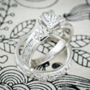 Custom flower princess cut wedding set