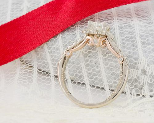 Two Tone Princess Diamond Halo Engagement Ring - 2