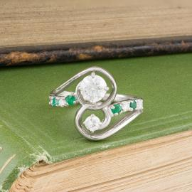 Asymmetrical Diamond and Emerald Swirl Ring - 3