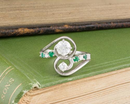 Asymmetrical Diamond and Emerald Swirl Ring - 3