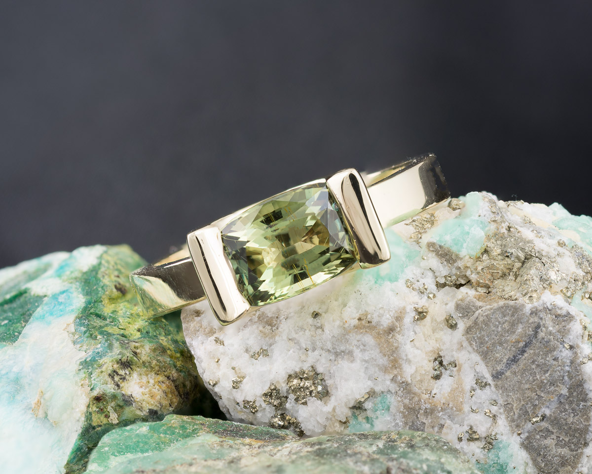 Green Alexandrite Cushion Solitaire