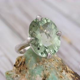Prasiolite Oval Cocktail Ring - 2