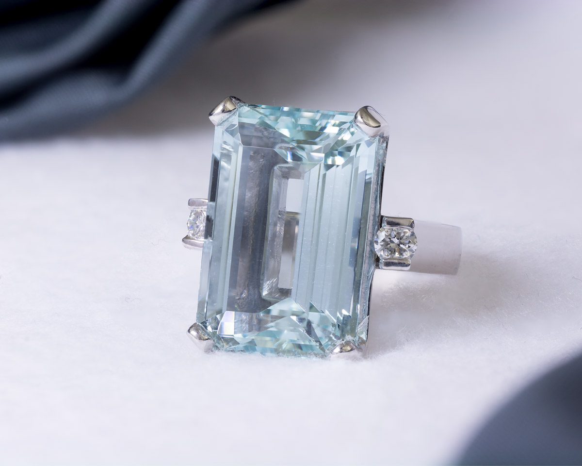 Emerald Cut Aquamarine Cocktail Ring - 1