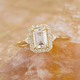 Emerald Cut Diamond Halo Engagement Ring - 1