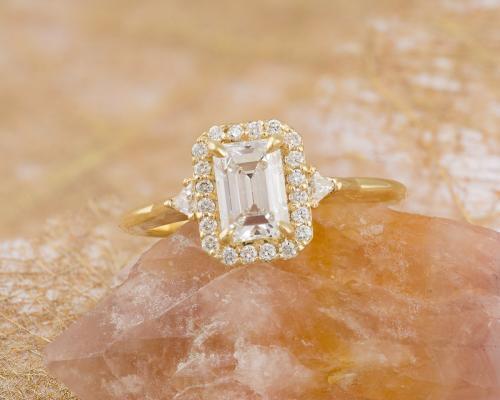 Emerald Cut Diamond Halo Engagement Ring - 1
