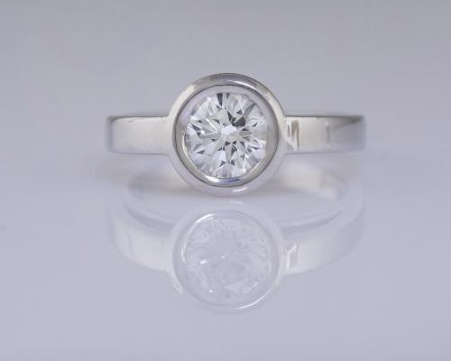 Bezel Diamond Solitaire Engagement - 1