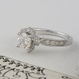 Floral Halo Engagement Ring with Diamonds - 2