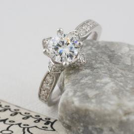 Floral Halo Engagement Ring with Diamonds - 3