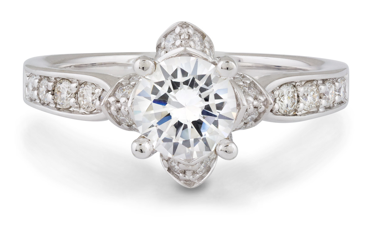 Floral Halo Engagement Ring with Diamonds