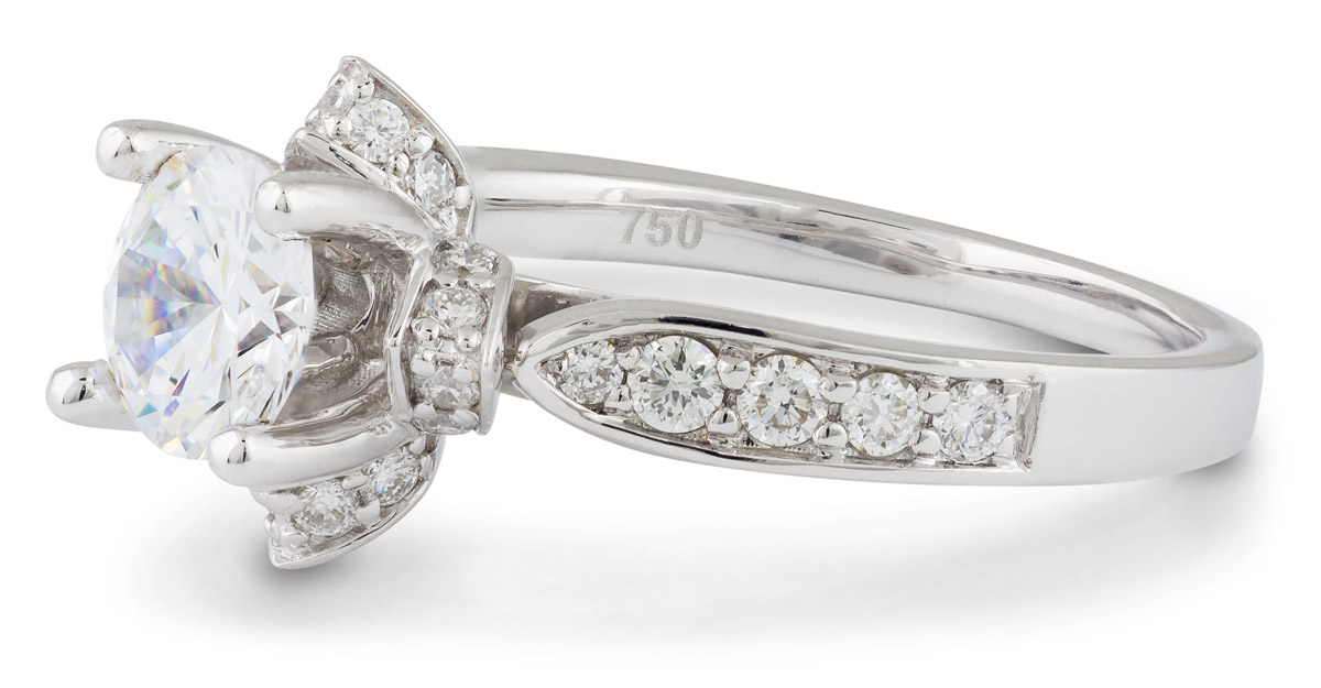 Floral Halo Engagement Ring with Diamonds - Side