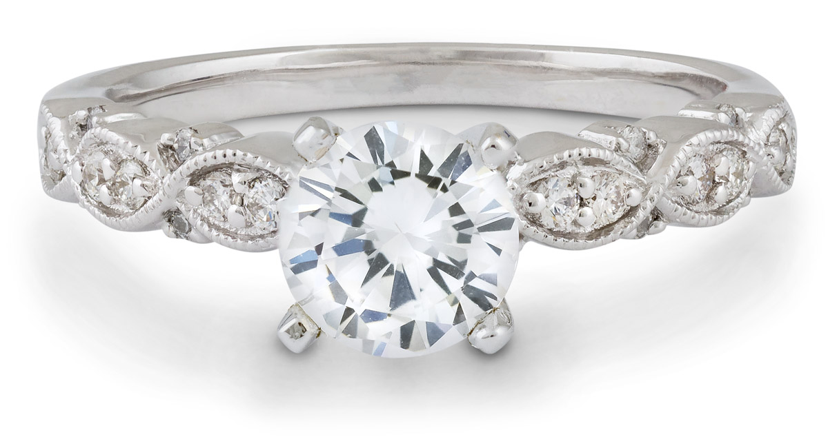 Marquise Milgrain Engagement Ring with Diamonds