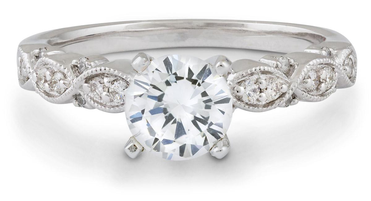 Marquise Milgrain Engagement Ring with Diamonds