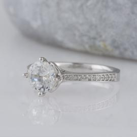 Scalloped Accent Engagement Ring with Diamonds - 1