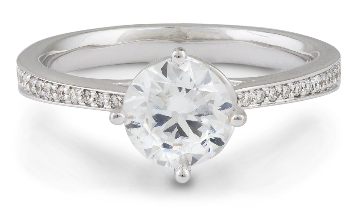 Scalloped Accent Engagement Ring with Diamonds