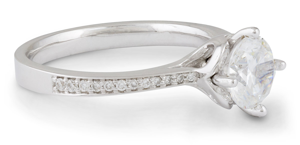 Scalloped Accent Engagement Ring with Diamonds - Side