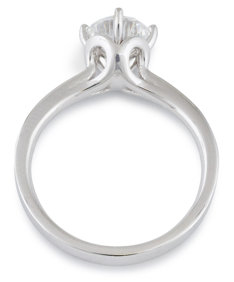 Scalloped Accent Engagement Ring with Diamonds - Top
