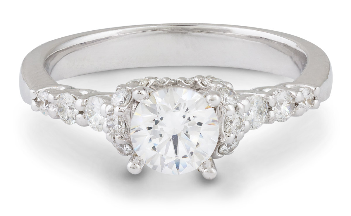 Bow Design Engagement Ring with Milgrain Detail