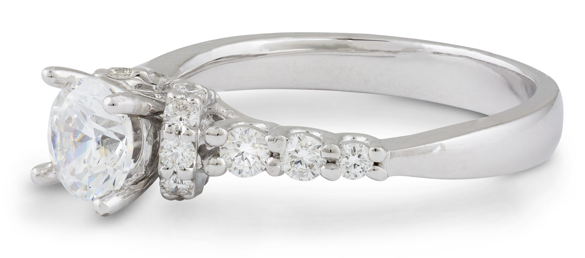 Diamond Accented Engagement Ring - Side