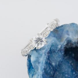 Bow Design Engagement Ring with Milgrain Detail - 1