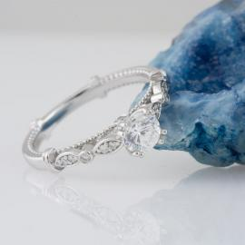 Bow Design Engagement Ring with Milgrain Detail - 3