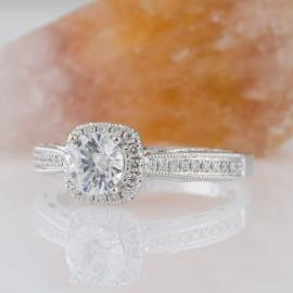 Diamond Halo Engagement Ring with Filigree Detail - 1