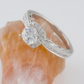 Diamond Halo Engagement Ring with Filigree Detail - 3