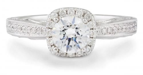 Diamond Halo Engagement Ring with Filigree Detail