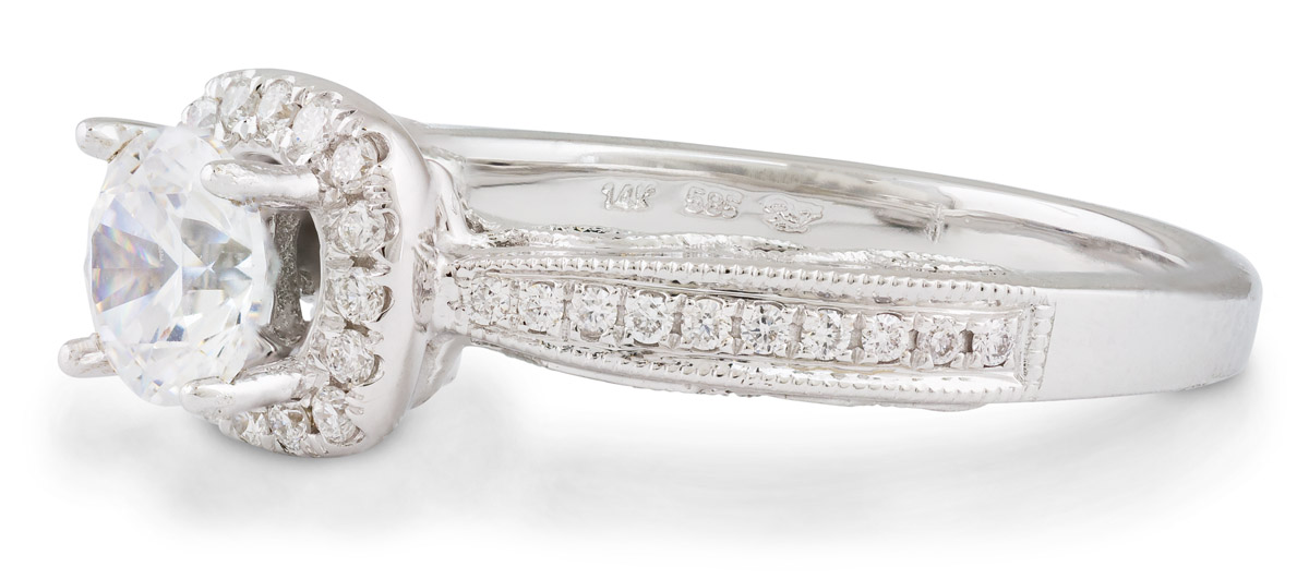 Diamond Halo Engagement Ring with Filigree Detail - Side