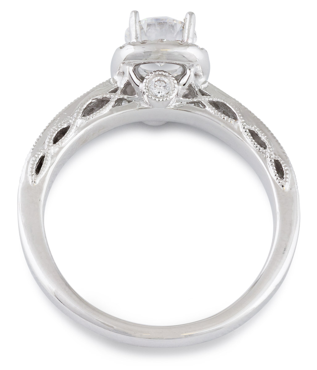 Diamond Halo Engagement Ring with Filigree Detail - Top